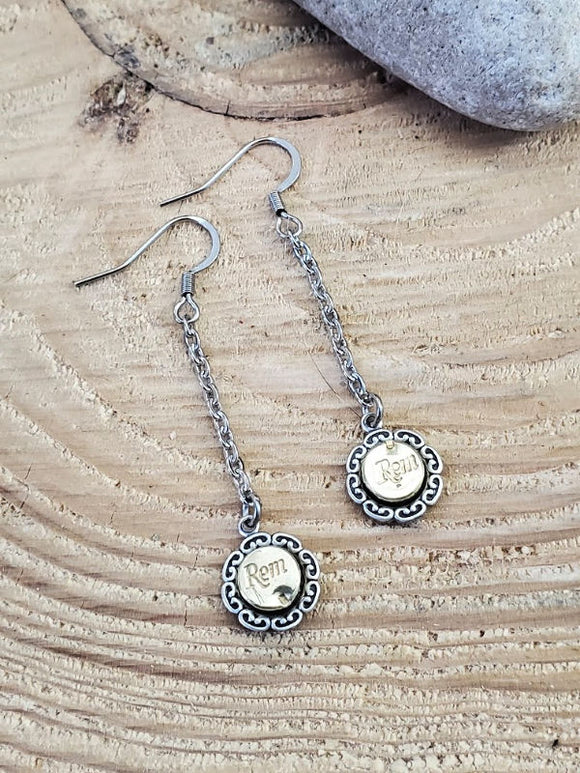 Petite 22 Cal Ruffle Edge Bezel Chain Bullet Earrings - Minimal Jewelry-Bracelets-SureShot Jewelry