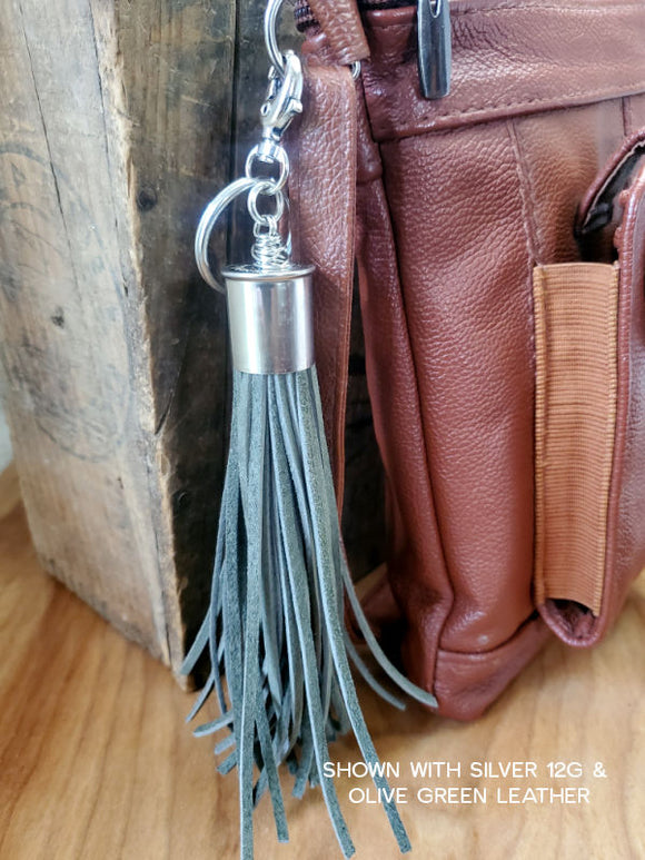 12 Gauge Leather Tassel Keychains / Tassel Key Rings-Key Ring, Key Chain-SureShot Jewelry