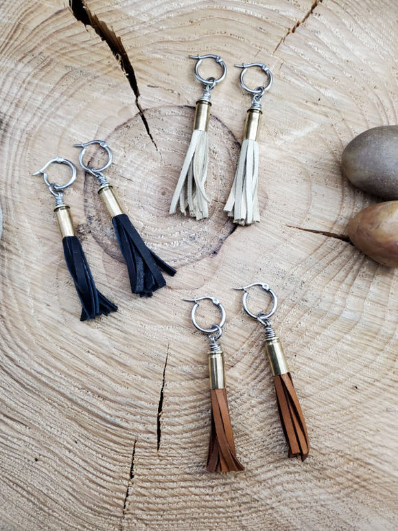 Bullet Leather Tassel Stainless Hoop Earrings