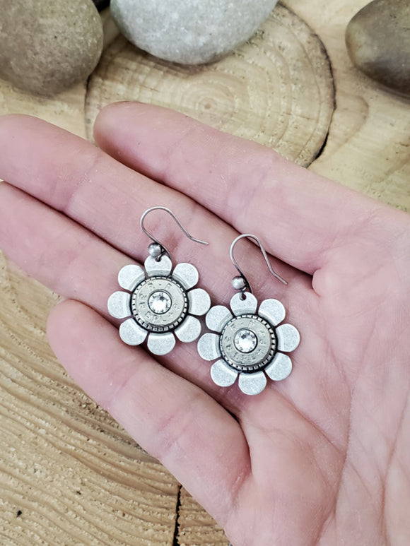 Bullet Casing Flower Earrings-Earrings-SureShot Jewelry