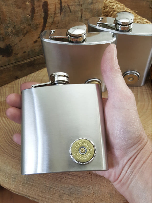 CLEARANCE - HALF PRICE AT $12.95 - 6 oz. Stainless Steel 12 Gauge Hip Flask