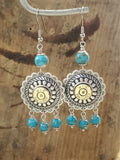 Bullet Earrings - Southwest Style Concho and Turquoise Bullet Earrings-Earrings-SureShot Jewelry