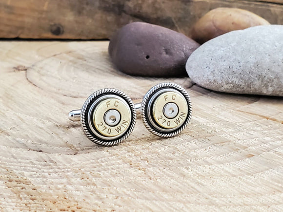 270 Caliber Bullet Cuff Links-Cuff Links-SureShot Jewelry