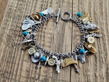 Country Western Mixed Metal Charm Bracelet-Bracelets-SureShot Jewelry