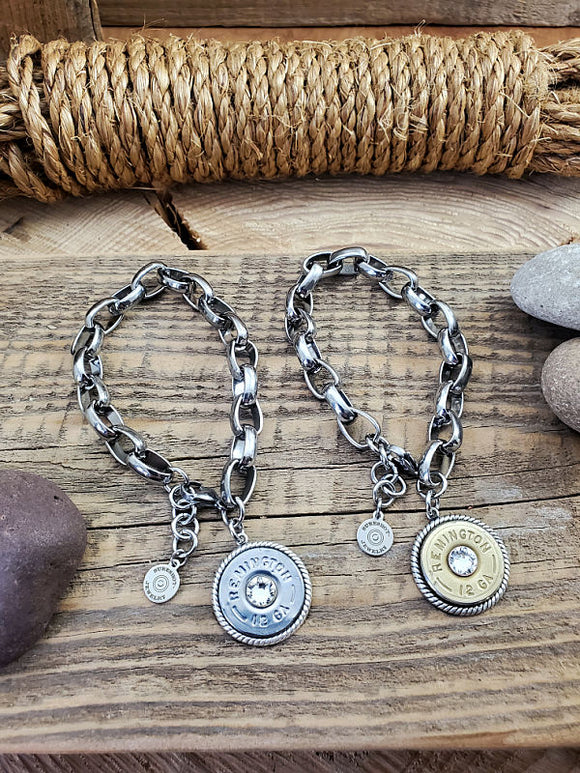 12 Gauge Stainless Steel Chunky Charm Bracelet