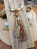 Double Antler Bohemian Style Leather Fringe Necklace-Necklace-SureShot Jewelry