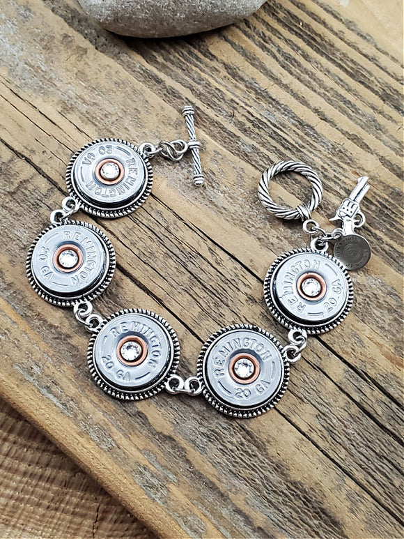 Silver 20 Gauge Shotshell Bracelet-SureShot Jewelry