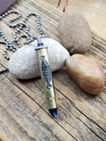 Rifle Casing, Filigree and Sapphire Long Bullet Necklace