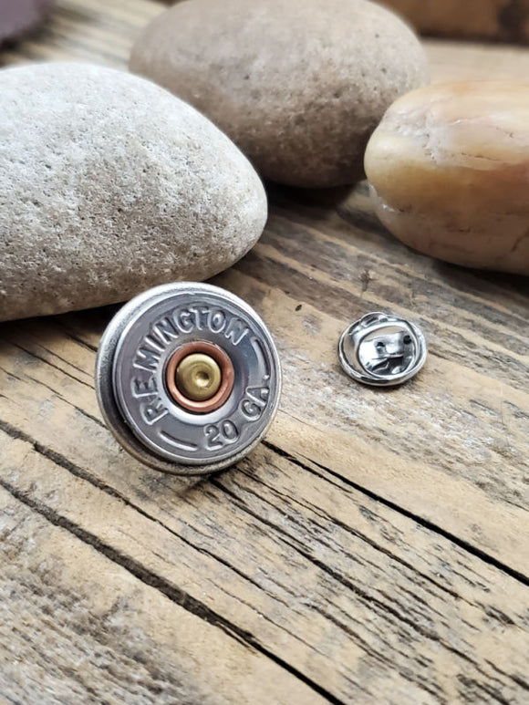 Silver 20 Gauge Shotgun Casing Tie Tack / Lapel Pin / Purse or Hat Pin-SureShot Jewelry
