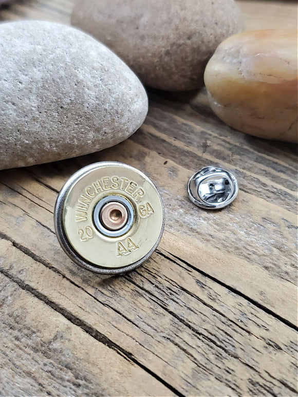 20 Gauge Shotshell Tie Tack / Lapel Pin / Purse or Hat Pin-SureShot Jewelry