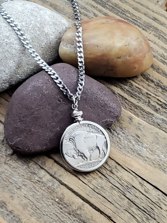 Buffalo Nickel Coin Necklace - Unisex-SureShot Jewelry