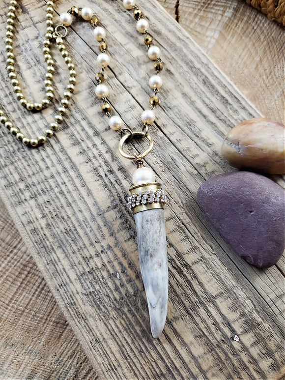Ivory Pearl Beaded Brass Ball Chain Antler Necklace-SureShot Jewelry