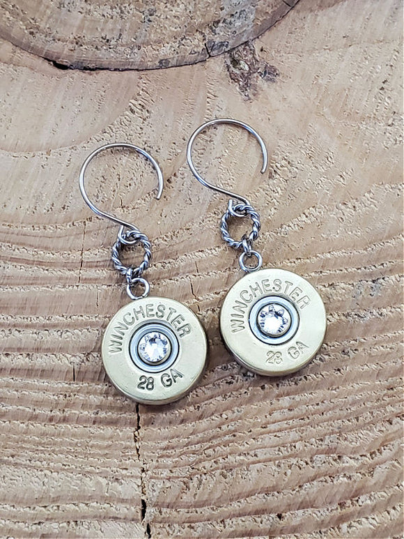 28 Gauge Shotshell Stainless Dangle Earrings