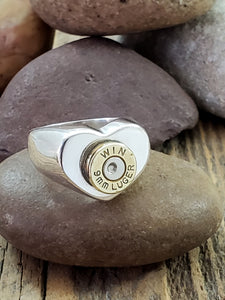 Sterling Silver 9mm Heart Shape Signet Bullet Ring-SureShot Jewelry