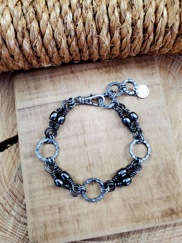 UNISEX Fishing Themed Gunmetal Barrel Swivel Link Bracelet-SureShot Jewelry