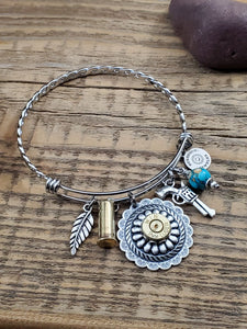 Wire Bangle Concho Bullet Bracelet - Southwest Style