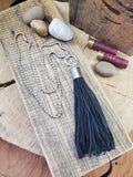 12 Gauge Leather Tassel Necklace - SIX COLORS!-SureShot Jewelry