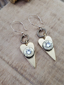 9mm GOLD Color Slim Heart Dangle Earrings-SureShot Jewelry
