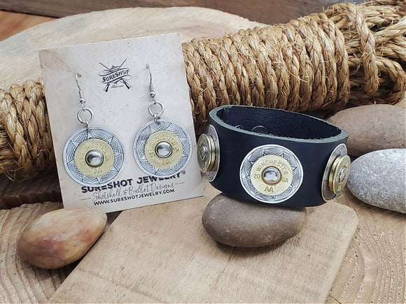 20 Gauge Black Leather Concho Cuff Bracelet & Earring Set-SureShot Jewelry