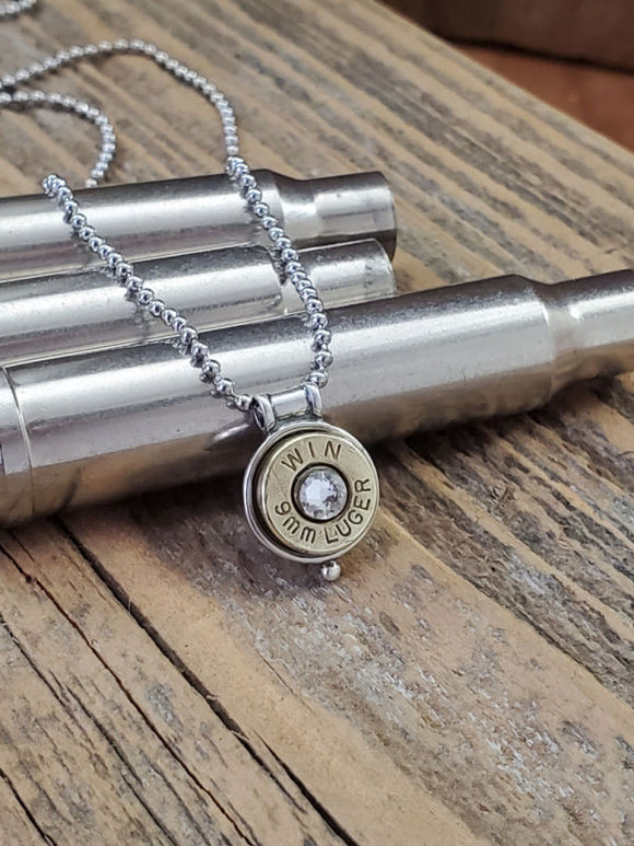 Petite 9mm STERLING SILVER Bullet Necklace