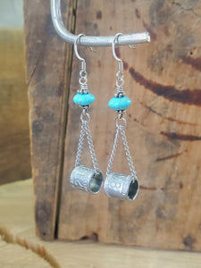 Duck Band Turquoise Beaded Chain Earrings