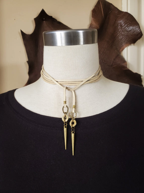 MULTI-WRAP Brass Bullet and Spike Leather Choker