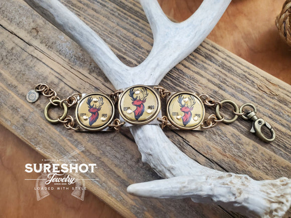 Buck Head Bottle Cap Link Bracelet