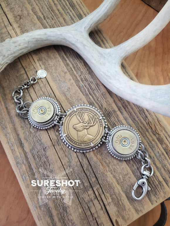 Whitetail NRA Coin & 12 Gauge Link Bracelet