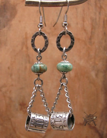Duck Band Chain Dangle Beaded Earrings w/Jasper Beadwork