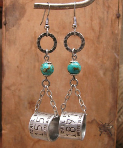Duck Band Chain Dangle Beaded Earrings w/Turquoise Beadwork