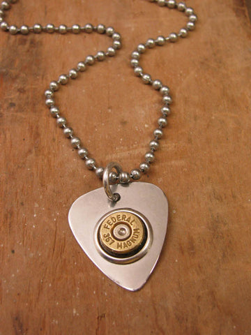 """Power Pickin"" Guitar Pick Bullet Casing Necklace"
