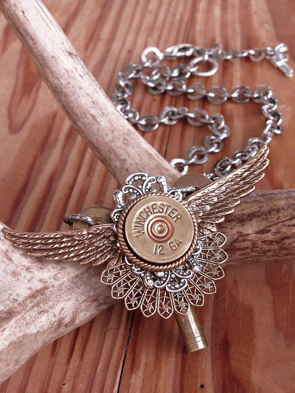 12 Gauge Shotshell Winged Statement Necklace-Necklace-SureShot Jewelry