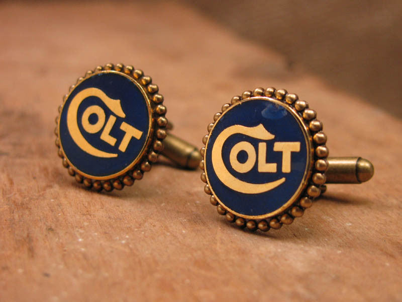 Genuine Navy COLT Grip Medallion Brass Cuff Links