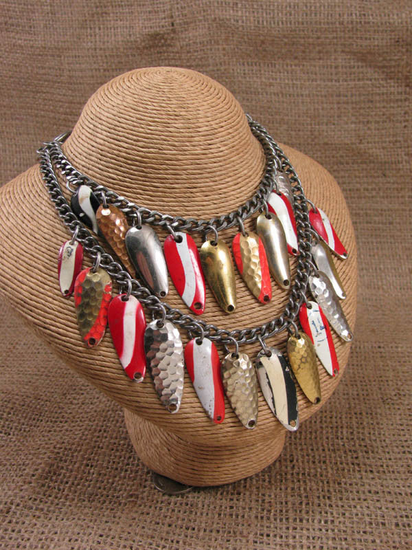 Spinner Lure Blade Double Drop Fishing Themed Statement Necklace
