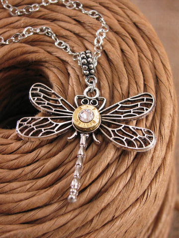32 Auto Bullet Casing Dragonfly Pendant Necklace
