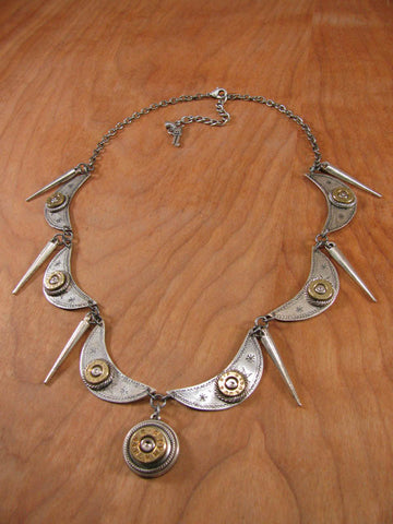 Crescent and Spike Bullet Casing Statement Necklace