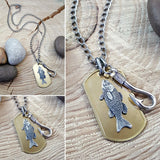 Men's Brass Fishing Hook and Trout on Brass Dog Tag Necklace-SureShot Jewelry