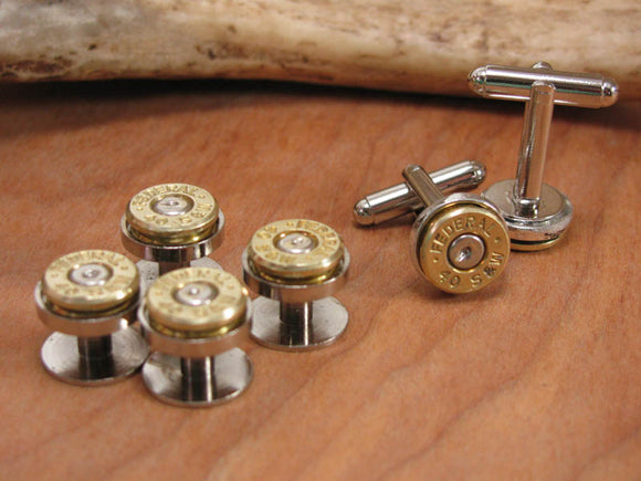 GIFT SET - Tuxedo Buttons & Matching Bullet Cuff Links-SureShot Jewelry