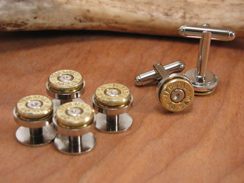 GIFT SET - Bullet Casing Tuxedo Buttons & Matching Cuff Links