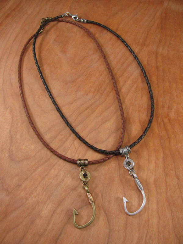Men's Shooting & Fishing Themed Braided Leather Cord Bullet Casing Necklace