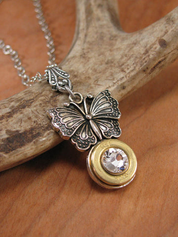 410 Gauge Shotgun Casing Butterfly Pendant Necklace - Gunz & Glitz™ Collection