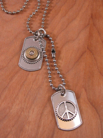 Military Inspired Dog Tag & Peace Sign Bullet Casing Necklace
