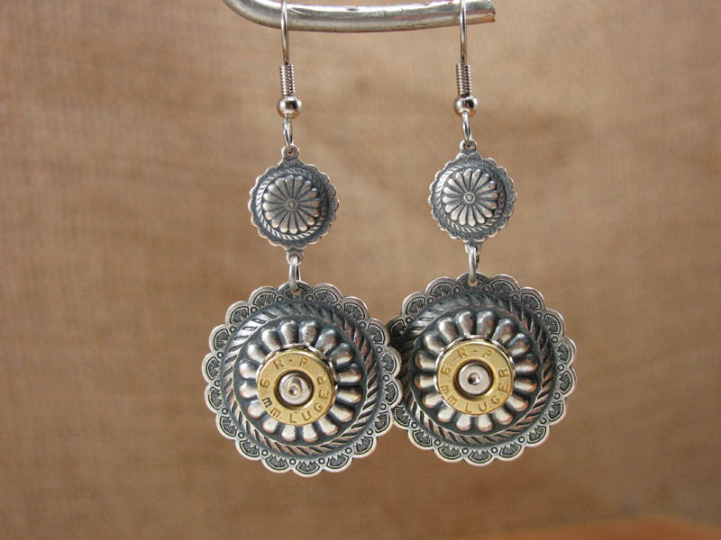 Southwest Style Round Silver Concho Bullet Casing Dangles