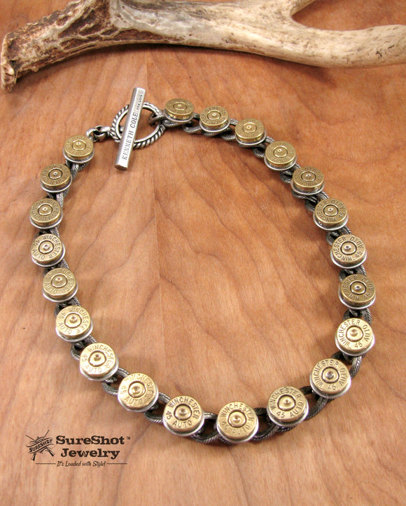 Bullet Necklace - Rocker Style Chunky Curb Chain Bullet Necklace - Unisex-SureShot Jewelry