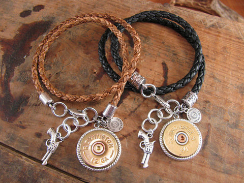 12 Gauge Shotshell Thick Braided Double Wrap Leather Charm Bracelet