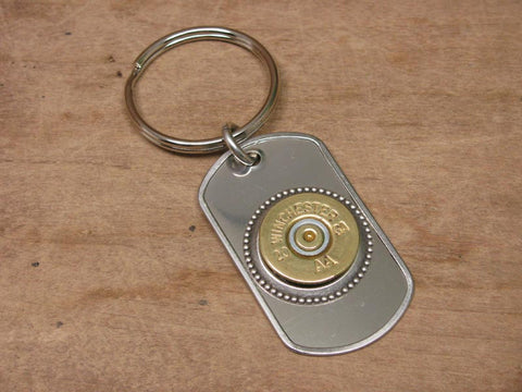 20 Gauge Shotshell Stainless Dog Tag Key Chain