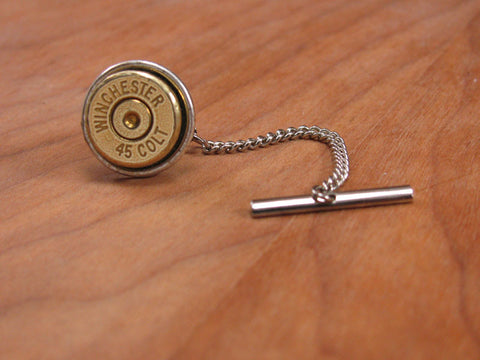 45 Colt Bullet Tie Tack with Chain