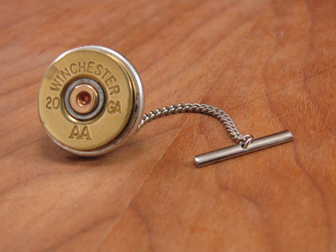 20 Gauge Shotshell Silver Tie Tack with Chain