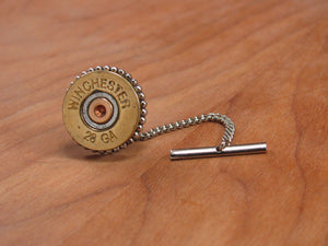 28 Gauge Shotshell Tie Tack with Chain-SureShot Jewelry