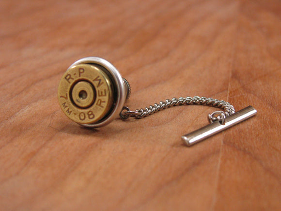 Brass Bullet Casing Silver Tie Tack with Chain-SureShot Jewelry